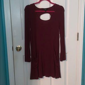 Burgundy Dress with Pockets and Keyhole Back